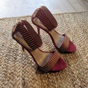 Zara Red Studded Heels